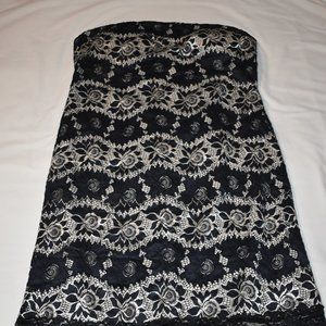 Strapless Black Lace and Cream Dress